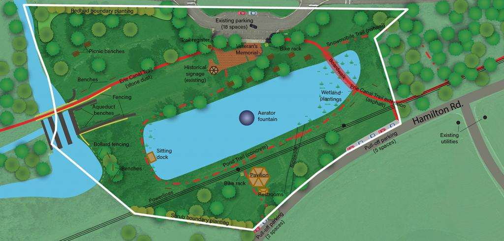 Diagramatic map graphic of pond, green space, and park boundary