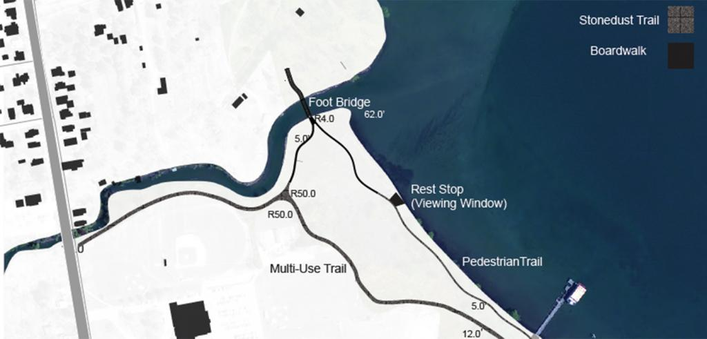 Diagramatic map graphic of lake coastline and circulation paths