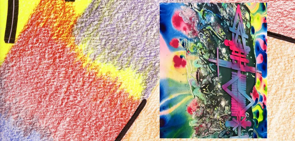 Red, yellow, purple crayon colored background with a brightly colored abstract image in on the right side.