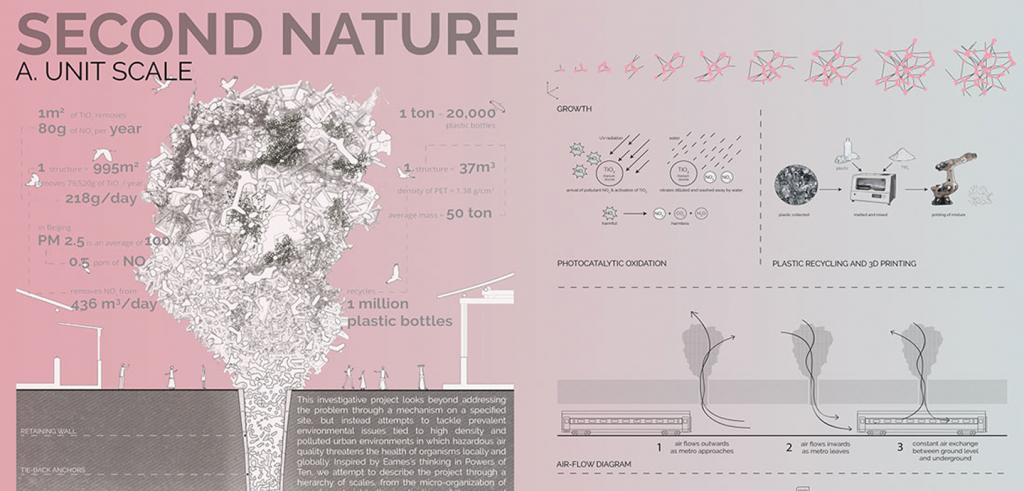 A pink colored diagram of airborne contaminants with text and drawings.