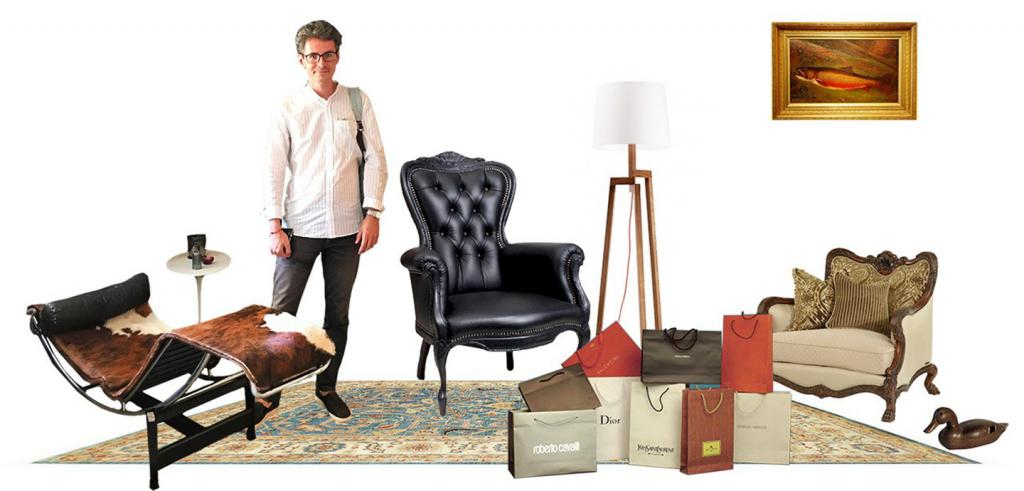 A collage of furniture and a man arranged to resemble an eclectic living room
