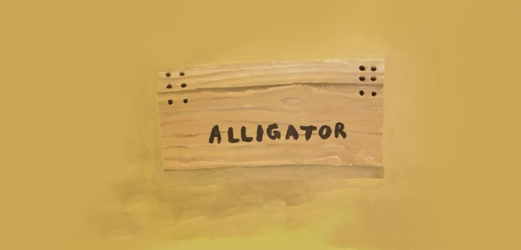 Painting of a wooden box with six nails in the upper right and left corners with the word 'alligator' on it against a mustard yellow background.