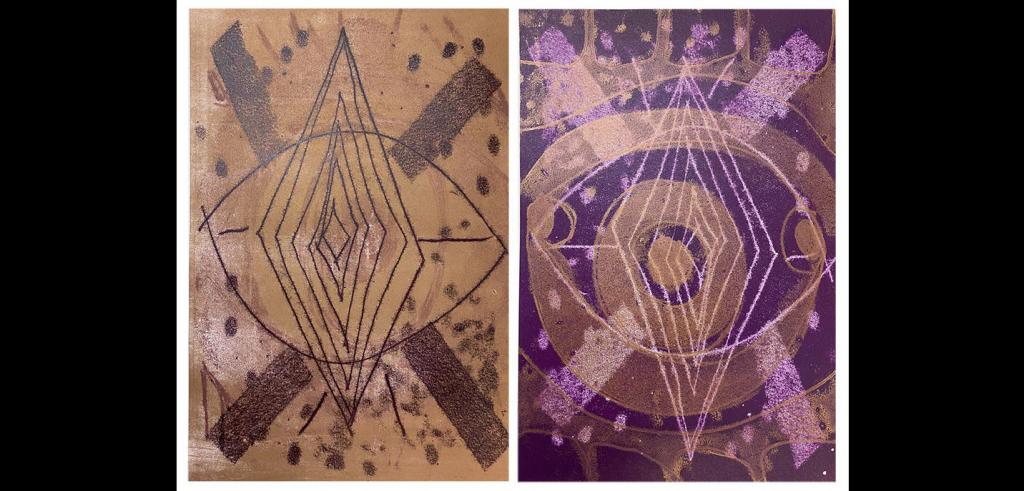 Two mirrored prints of abstract art, left side has tan and black lines, right side has purple and white lines.