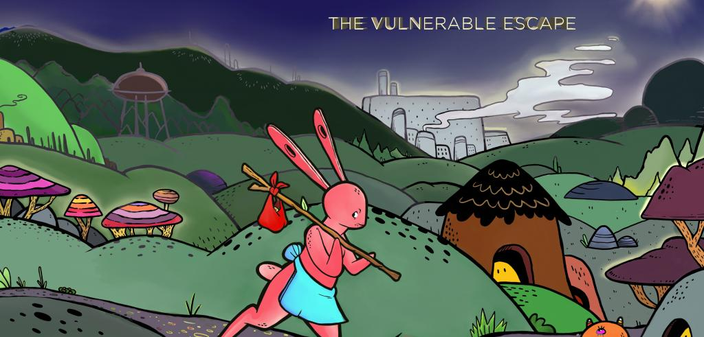 Cartoon drawing of a pink rabbit creature with a small bag on pole walking across a colorful fantasy landscape.