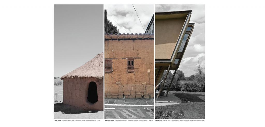three photos of building details