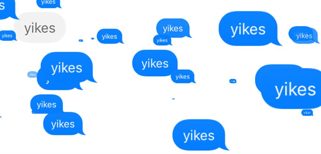 blue speech bubbles that say