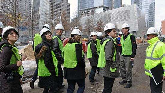 M.R.P. students at a NYC construction site