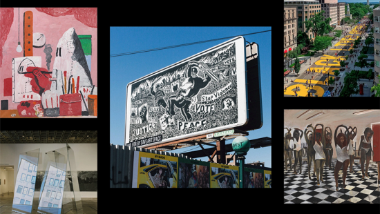 Five rectangles containing multicolored billboards, artwork, and street scenes.