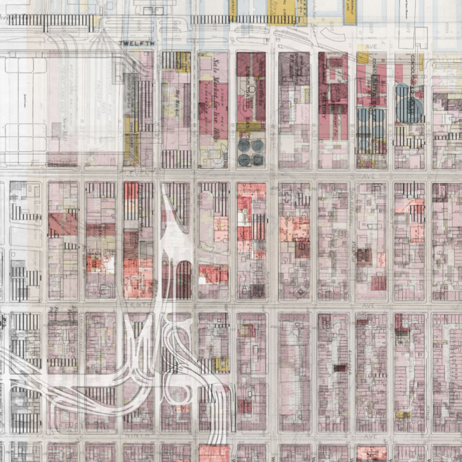 A series of pink rectangles forming a grid depicting a building layout.