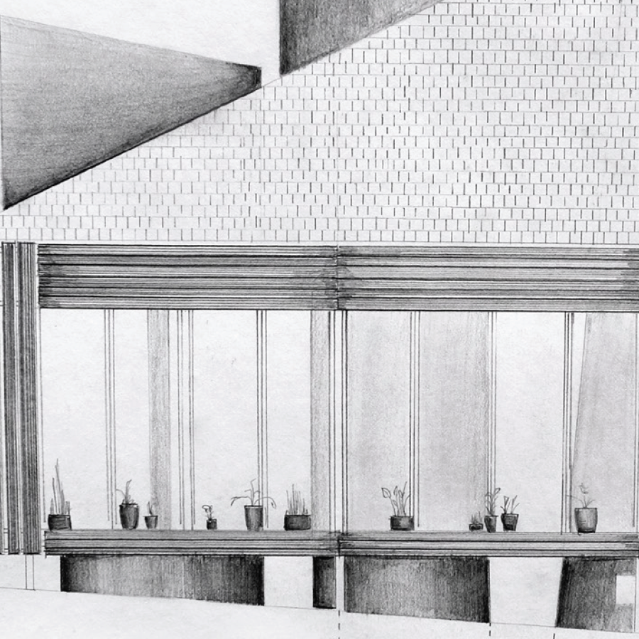 A pencil drawn and shaded architectural building.