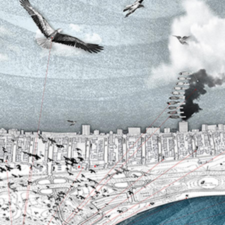 Landscape rendering of structures and roads with birds, clouds, and smoke above.