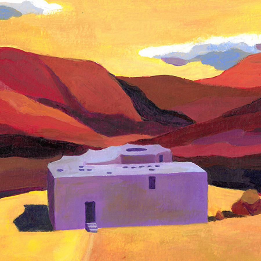 Building rendered purple in its context in the Grand Canyon.