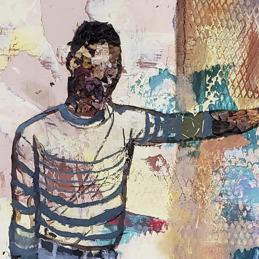 Painting of two people with short hair looking at each other roughly painted with different colors.