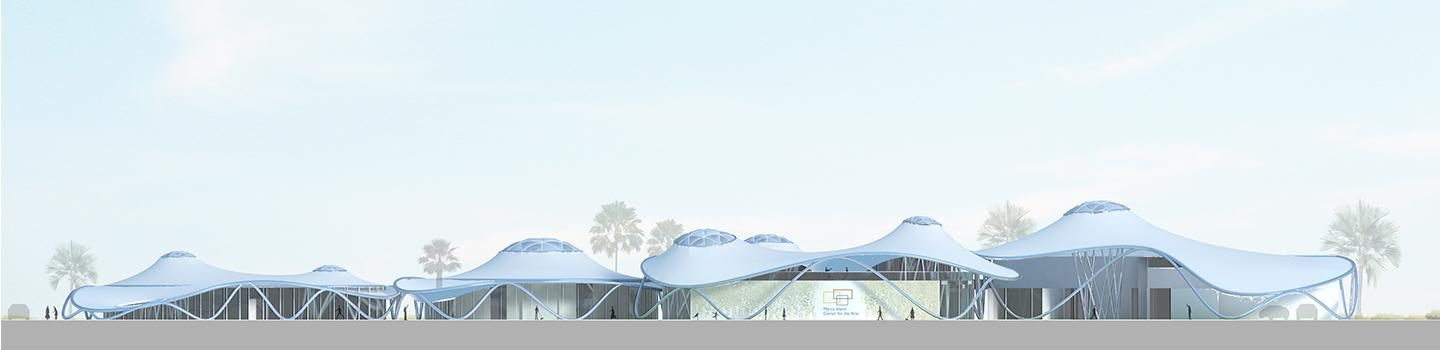 Rendering of white canopied structure