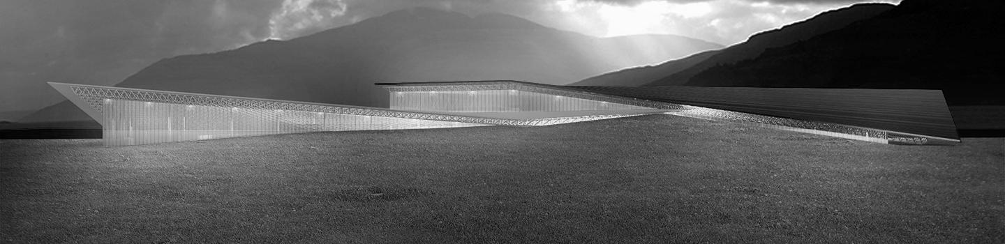 rendering of roof rising out of landscape with lit interiors and mountains in the background