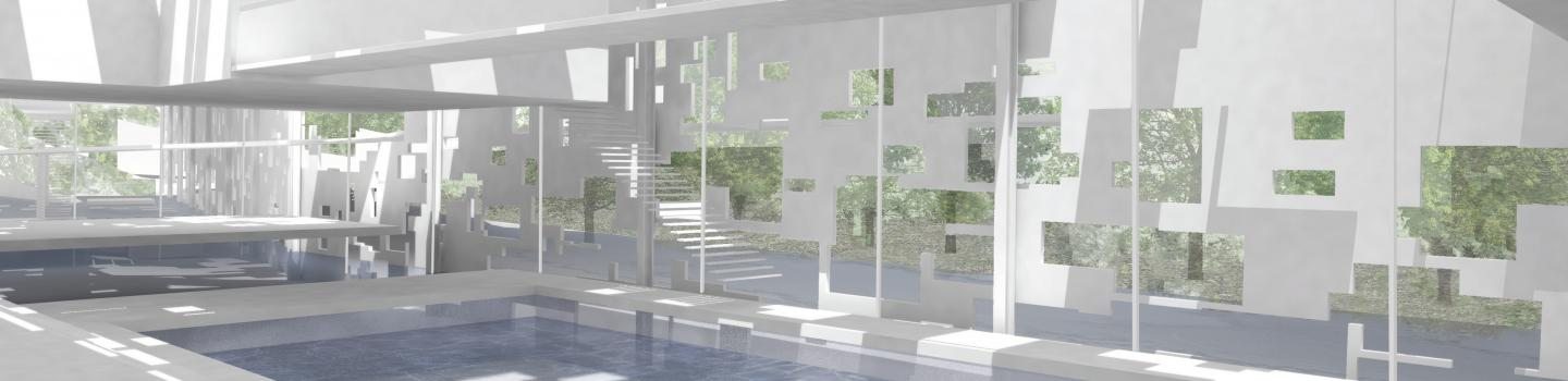 Render of project interior showing pool with light coming in through perforated cladding.