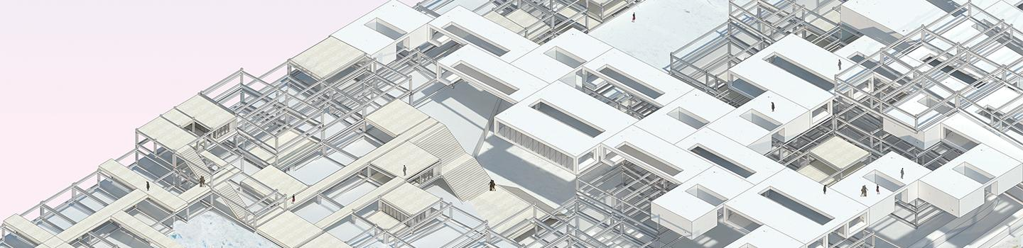Axonometric rendered aerial view showing wooden surface, metal latticework, and white volumes and massing.