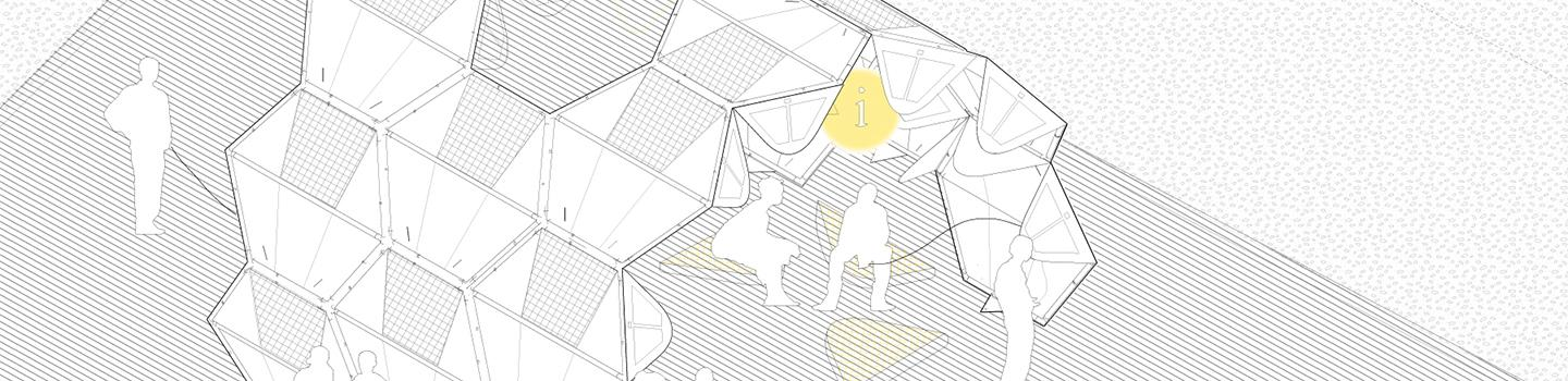 Axonometric drawing showing agglomeration of modules to build a shelter in the form of an arch with human figures populating the drawing.