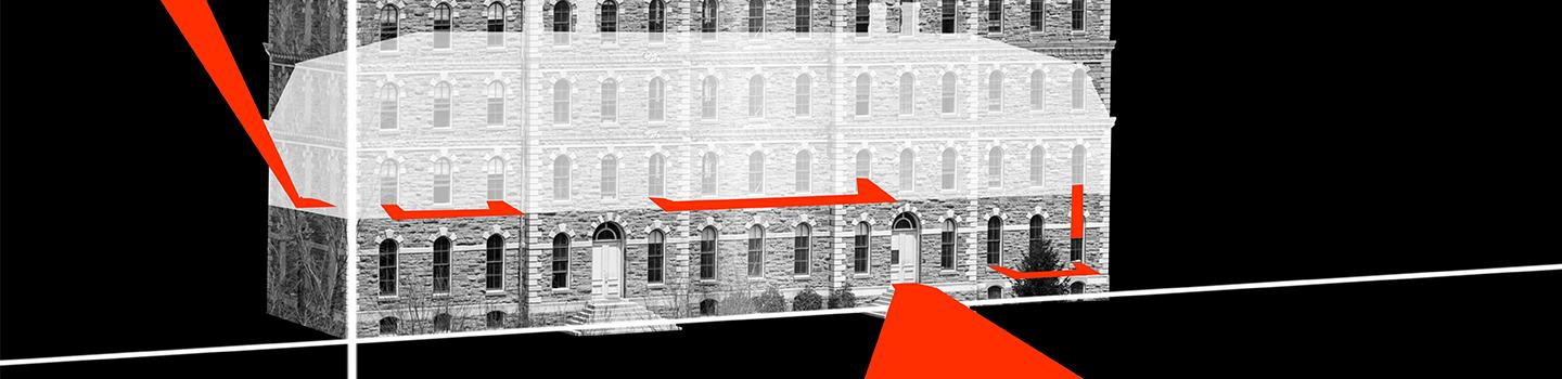 Conceptual drawing showing a building facade and a ghosted-in mansard roof with red bands extending perspectivally into, through, and out of the facade.