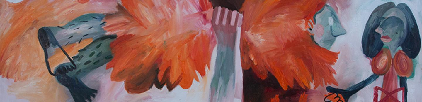 Painting of a hand grabbing a figure with another figure looking on, in various hues of orange, red, and blue.