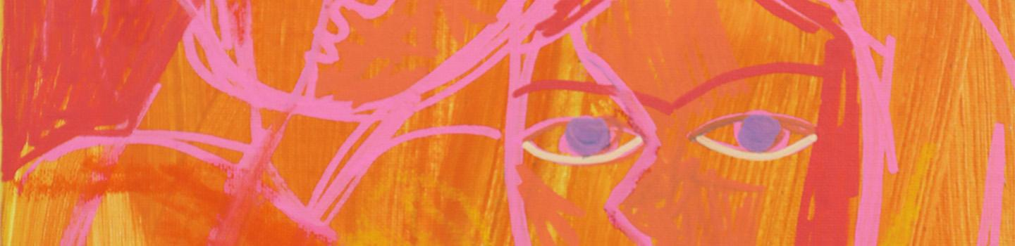 Part of an abstract painting of two people embracing drawn in a pink outline with dark pink hair set against a yellow and orange streaked background.