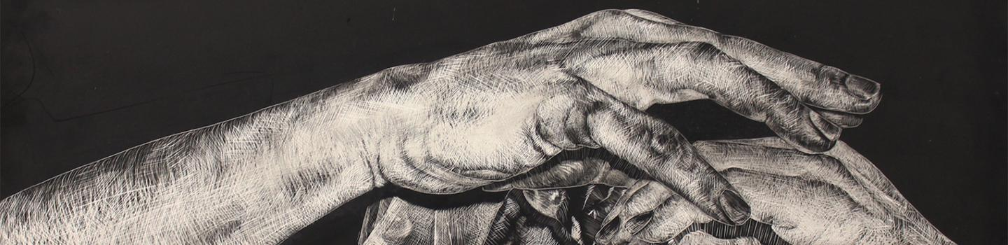 Black and white sketch of two hands over lapping holding an unidentified object.