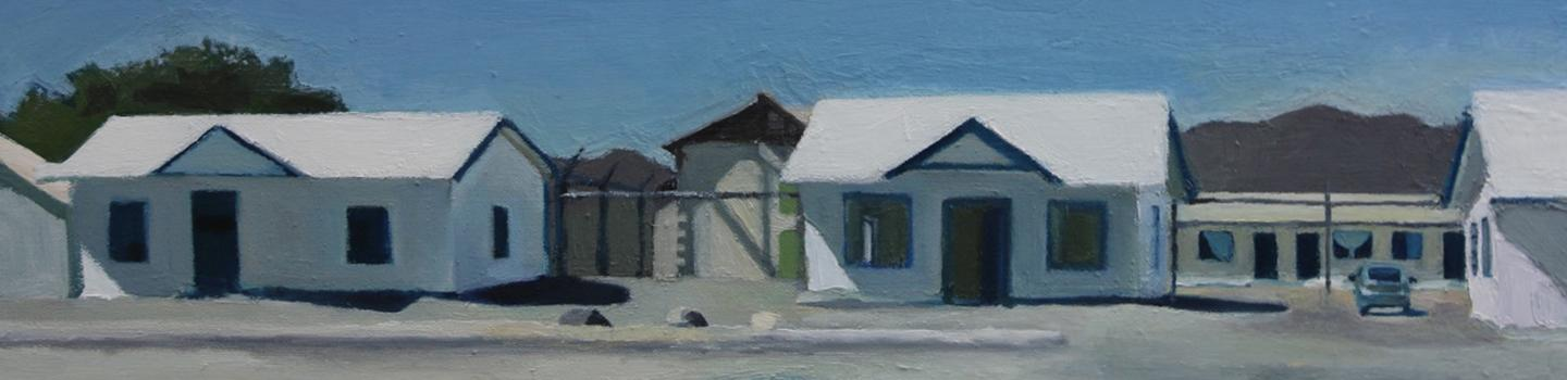 Painting of different small buildings on a road in white, blue, tan, gray.