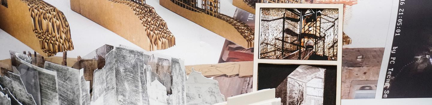 Photomontage of architectural models.