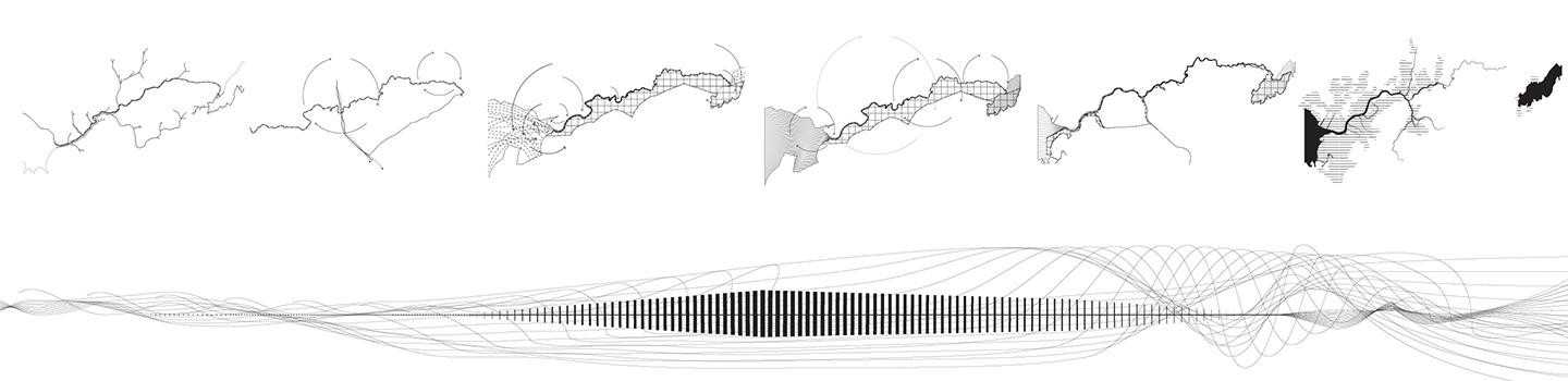 map sequencing drawing with black lines and vectors