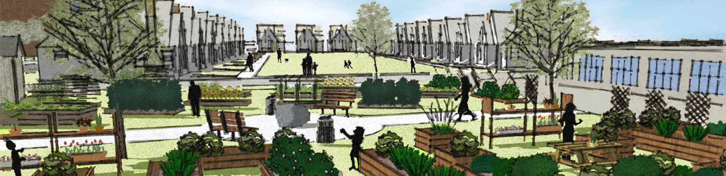 hand-drawn style rendering with garden plots and homes in background