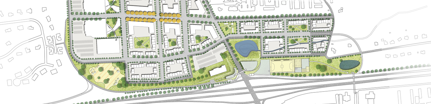 site plan drawing with green space and building footprints