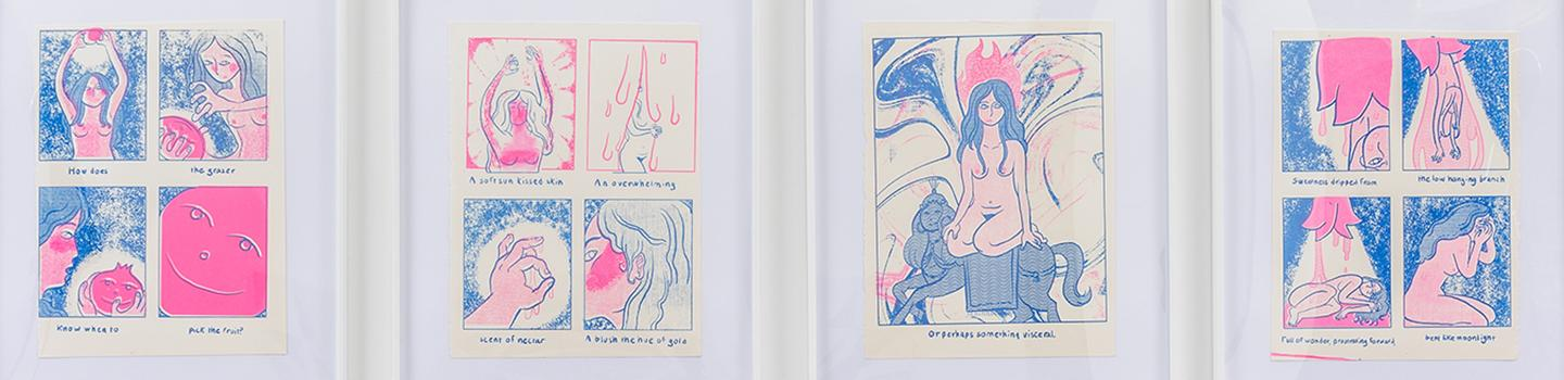 Four blue and pink prints depicting various scenes of a woman eating a pomegranate.