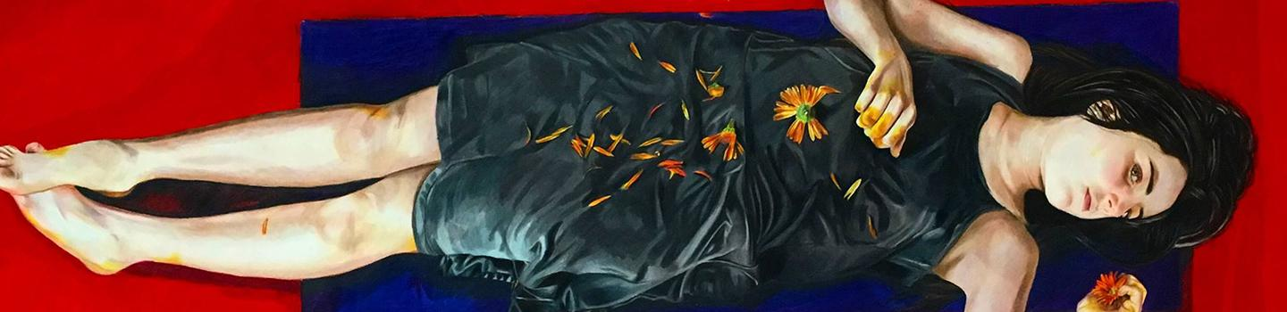 A drawing of a girl laying on a blue and red background wearing a black dress with flower petals scattered on it.