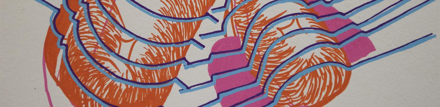 Painting of two abstract orange cylinder shapes, with blue parallel lines across and a pink rectangle behind one cylinder.