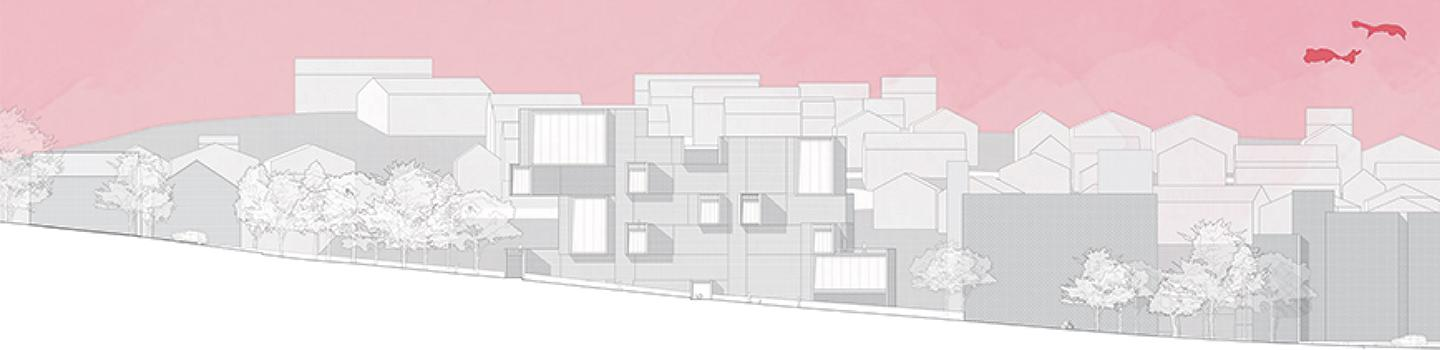 Building drawn in grey with big white windows sits on a slope with a pink sky.
