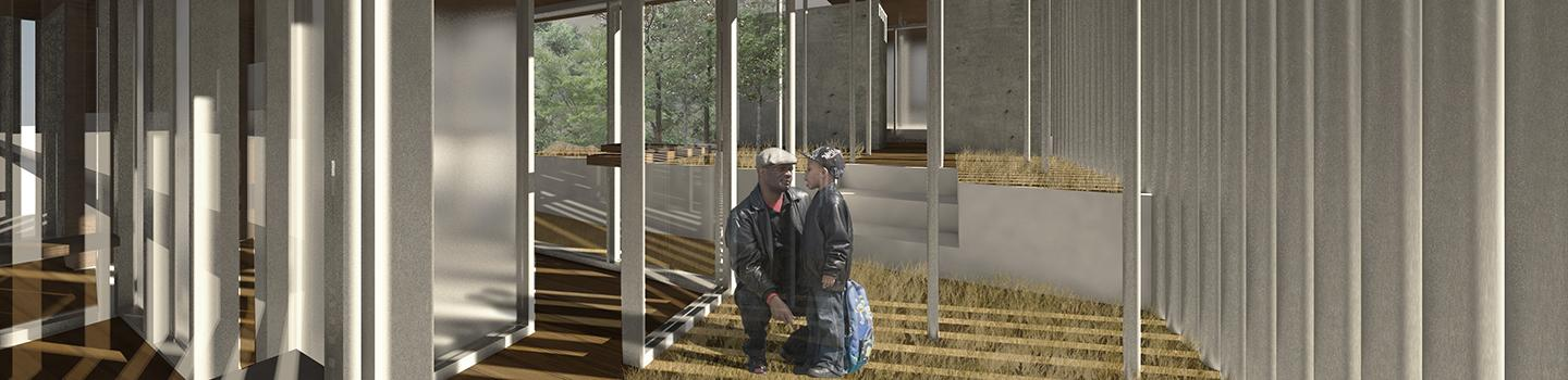 Digital rendering of an architectural structure's interior, whose center is occupied by two individuals.