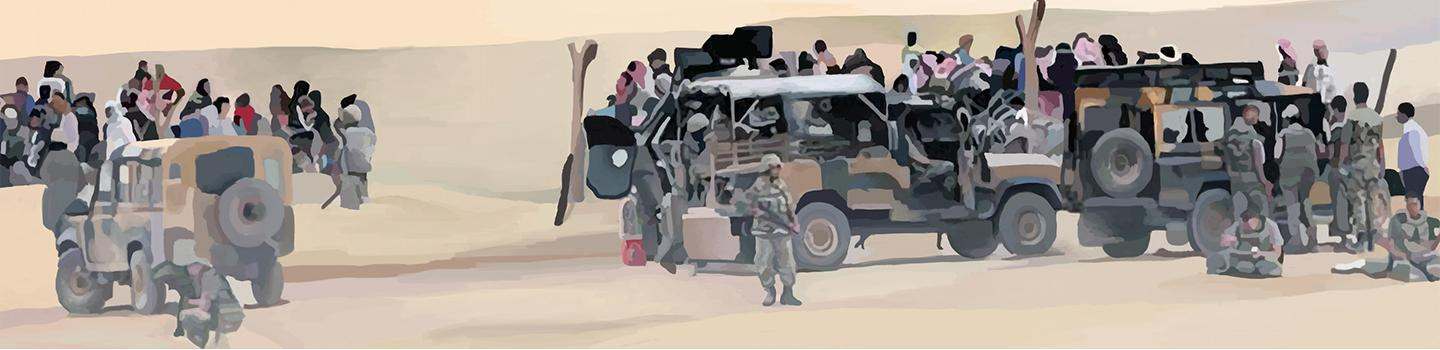 Painting of three army jeeps in camouflage tan and green set in a desert with civilians in the background and soldiers in the forefront.