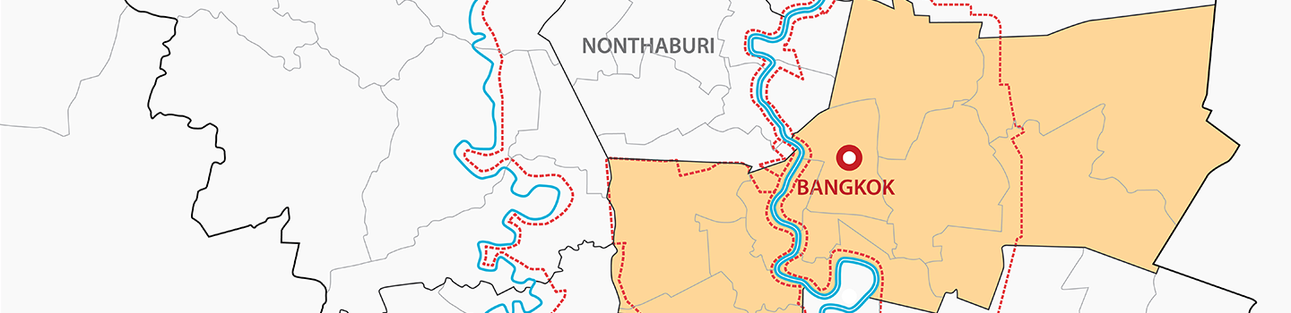 map diagram of Bangkok with area shaded in orange with red and blue lines