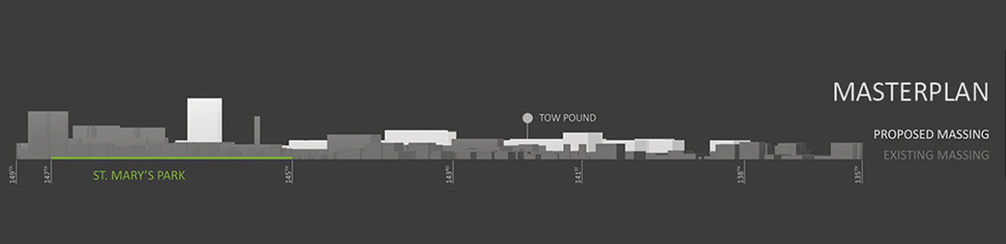 building mass section with gray background
