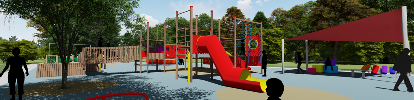 digital rendering of view of red playground equipment