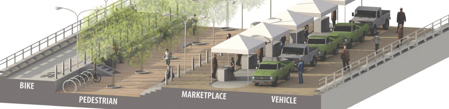 Rendering of vendors under awnings with car parked and pedestrian walkway