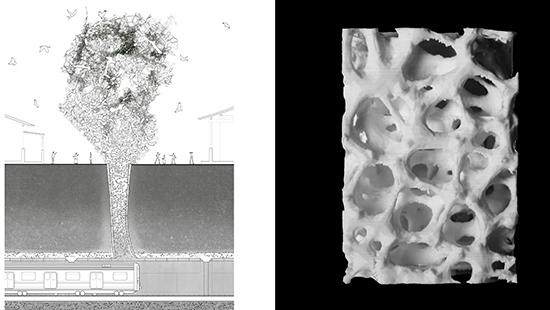 LEFT: drawing of people and birds above a subway train with mushroom cloud-like shape. RIGHT: cubed model with holes