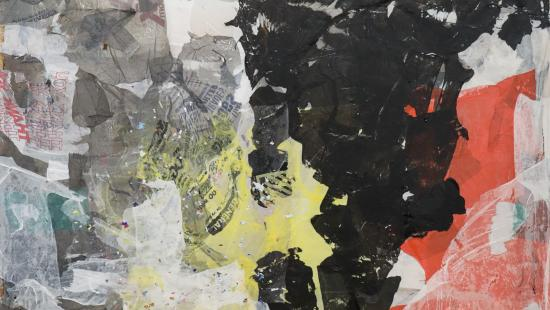 Collage of light yellow, light orange, and black paper in an abstract formation with unknown words mixed into the black.