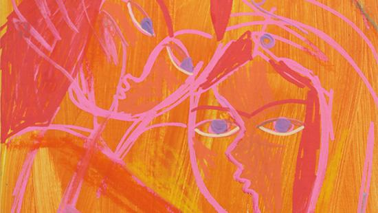 Abstract painting of two people embracing drawn in a pink outline with dark pink hair set against a yellow and orange streaked background.