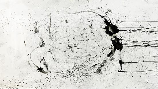 Photograph of drawing generated by drawing machine with charcoal and ink-blot markings.