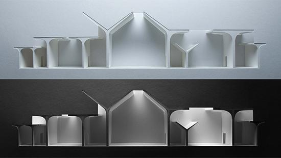 Two photographs of light-study models made out of white chipboard and paper materials showing section-cuts through proposal, with the bottom model being on a darker background and only being lit in the interior spaces.