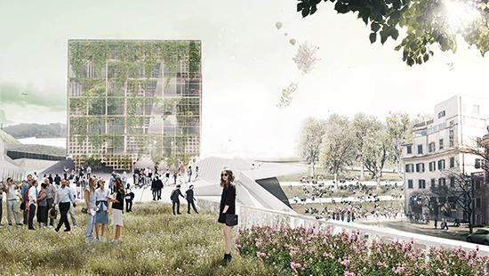 Render showing cube-shaped project in background with lawn populated by people and flowers in the foreground and buildings on the right-hand side.