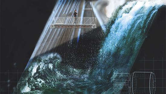 Render collage in section showing water and light rushing into a sunken space with walkways suspended above the water within it.