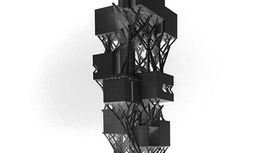Inverted photograph of 3D printed model.