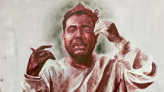 Painting in reddish hues depicting a man in a robe sitting down.